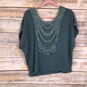 Lush Crochet Back Boho Green Top Medium